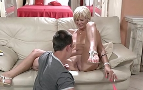 Saleable granny enjoys riding and sucking chunky young dick
