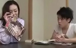 Japanese Milf withYoung Boy Red-eye Increased by Fuck
