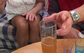 Riding blonde superannuated grandma sucking another dick