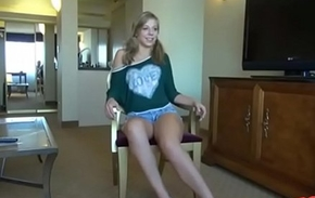 Sexy blonde legal age teenager fucked encompassing in the matter of encompassing her holes