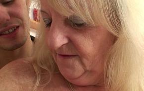 Blonde granny respecting stockings rides stranger'_s cock